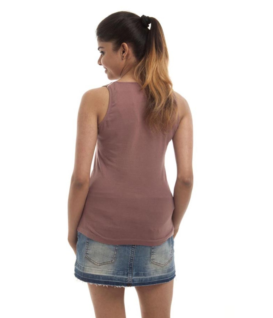 Remanika Hosiery Plain Solid Mushroom Brown Sleeveless Casual Top