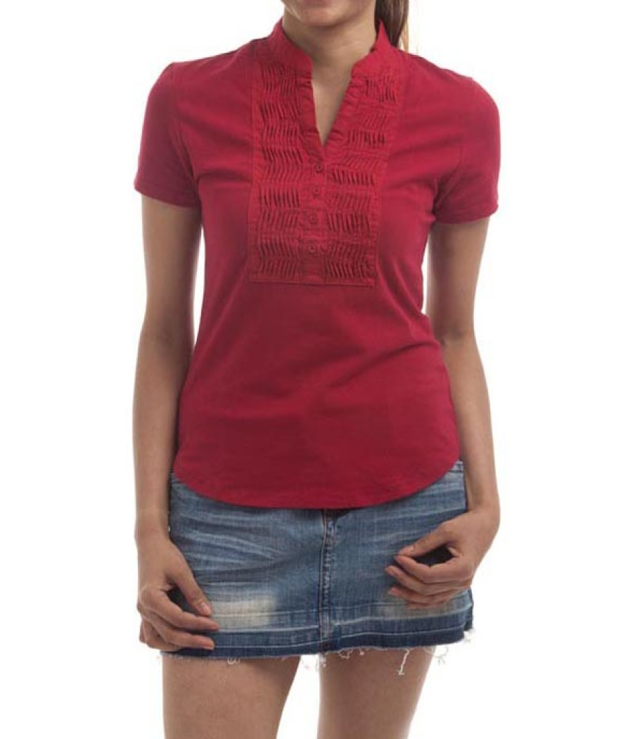 Gigill Cotton Solid Red Pleated Half Sleeved Button Closure Casual Top