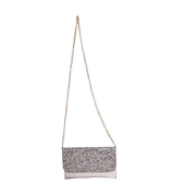 Envie Faux Leather Silver Magnetic Snap Fold Over Sequined Party Sling Bag for Women
