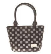 Aliado Faux Leather Printed Black & White Zipper Closure Tote Bag for Women
