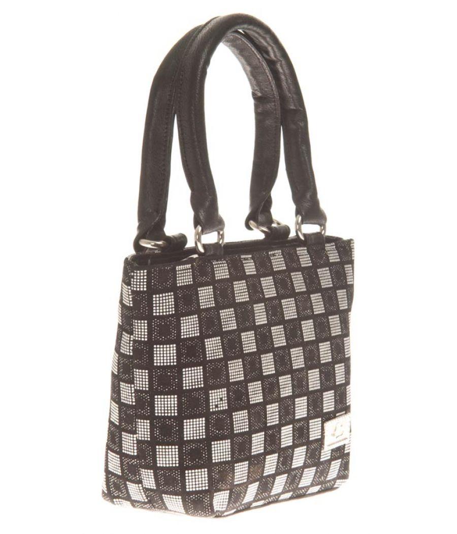 Aliado Faux Leather Printed Black & White Zipper Closure Tote Bag for Women
