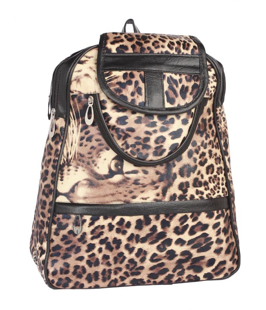 Aliado Cloth Fabric           Black and Brown Colour Printed Backpack