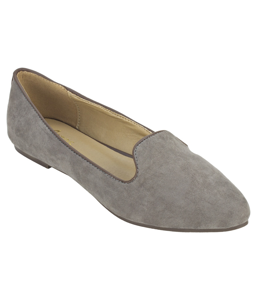 Estatos Suede Leather Pointed Toe Comfortable Grey  Ballet Flats for Women