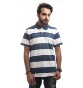 Giordano Polycotton Plain Striped Blue & White Regular Fit Casual T-shirt