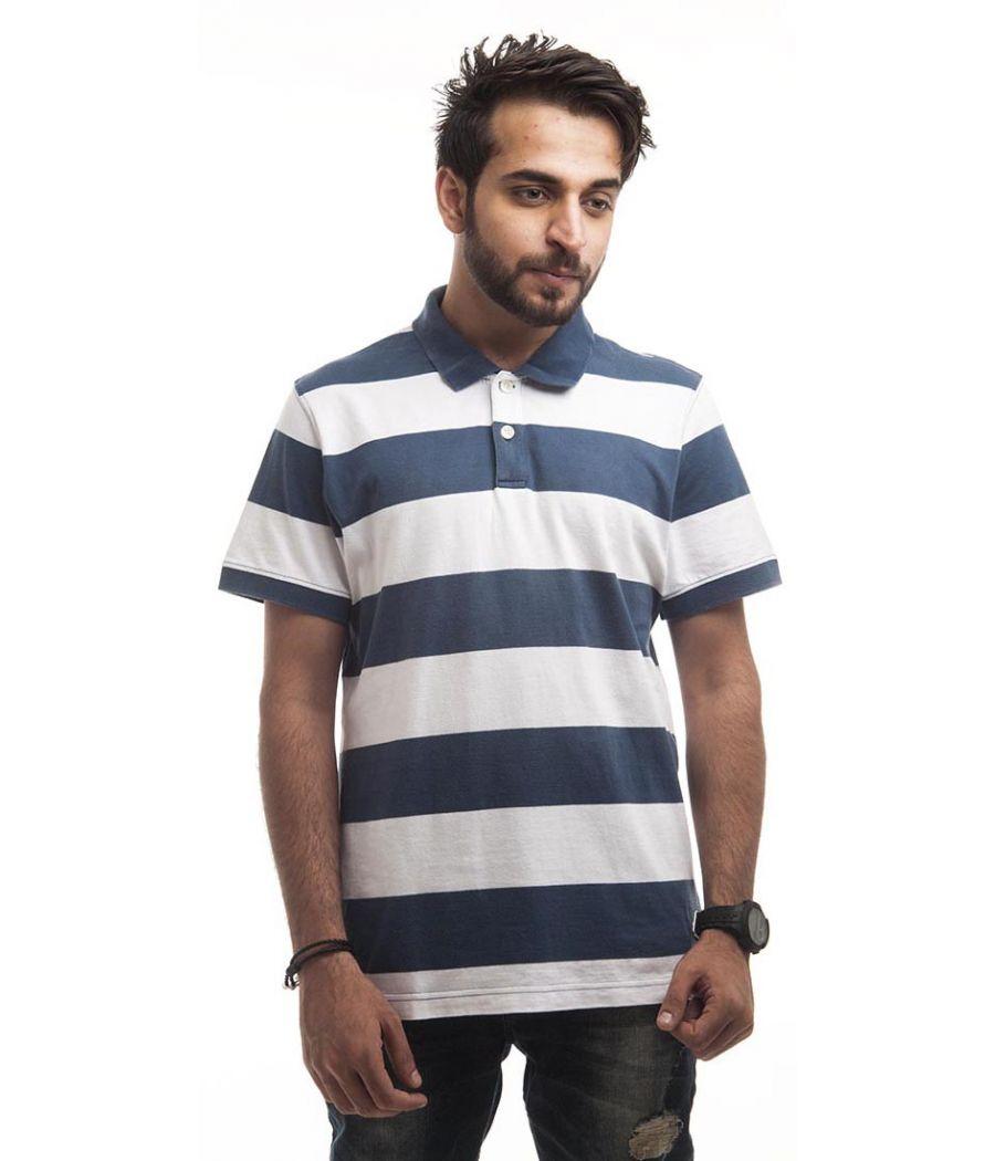Giordano Polycotton Plain Striped Blue & White Regular Fit Casual T-shirt