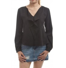 Max Cotton Solid Black Ruffle Design V Neck Full Sleeves Top