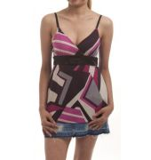 Sexy Silk Crepe Abstract Print Multi Coloured Sleeveless Spaghetti Top