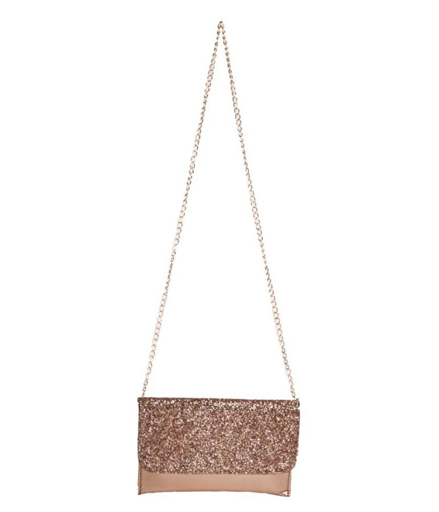 Envie Faux Leather Peach Fold Over Magnetic Snap Sequined Sling Bag for Women