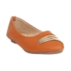MCS Synthetic Leather Mustard Coloured Broad Toe Flats for Women