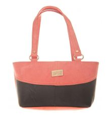 Aliado Faux Leather Solid Peach & Black Zipper Closure Handbag