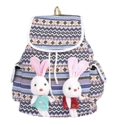 Aliado Cloth Fabric Blue and Multi Colour Printed Backpack