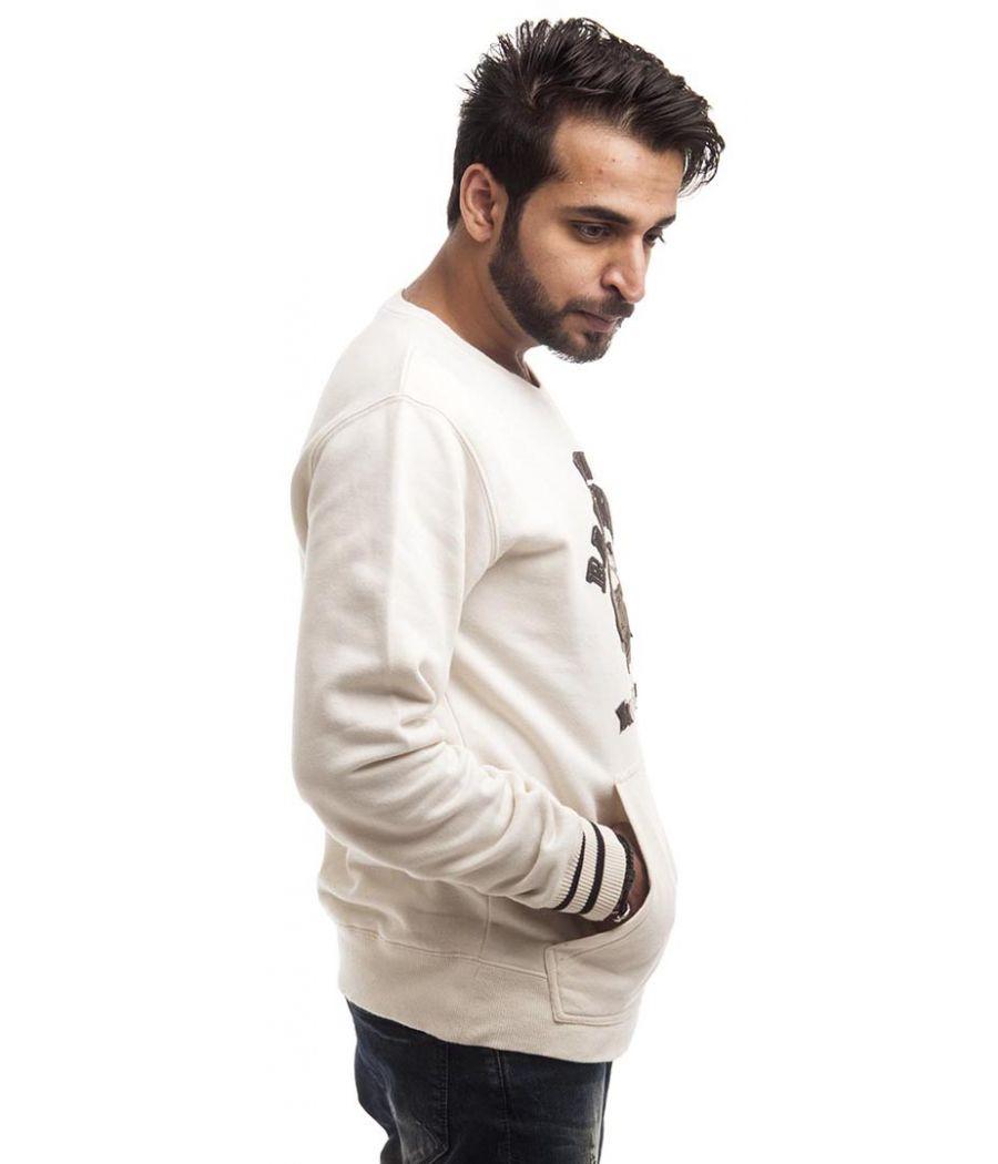 Etashee Certified Cotton Blend Off White Patch Work Casual Sweatshirt