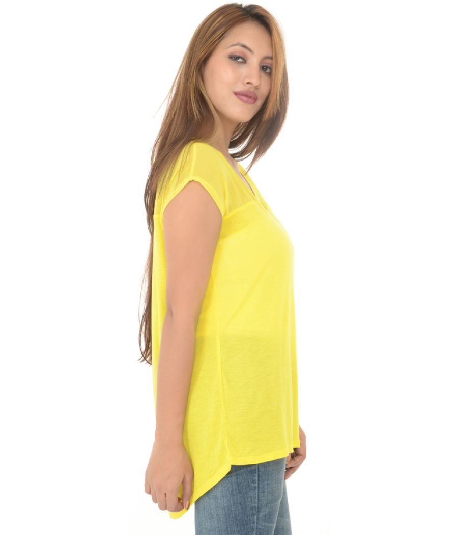 Zara Trafaluc Yellow Polyester Top