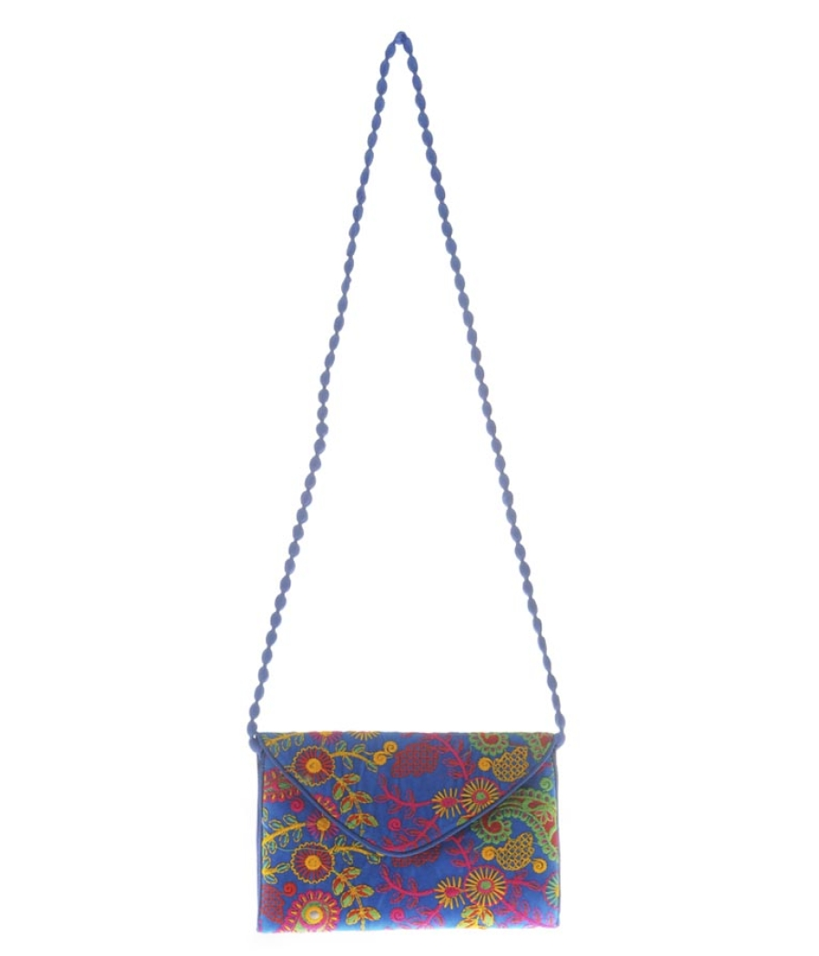 Envie Cloth/Textile/Fabric Embroidered Blue & Multi Magnetic Snap Sling Bag