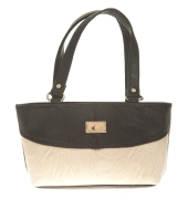 Aliado Faux Leather Solid Black & White Zipper Closure Tote Bag for Women