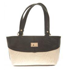 Aliado Faux Leather Solid Black & White Zipper Closure Tote Bag for Women