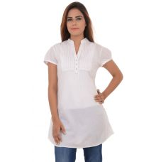 Espirit Cotton Front Pleats White Kurti
