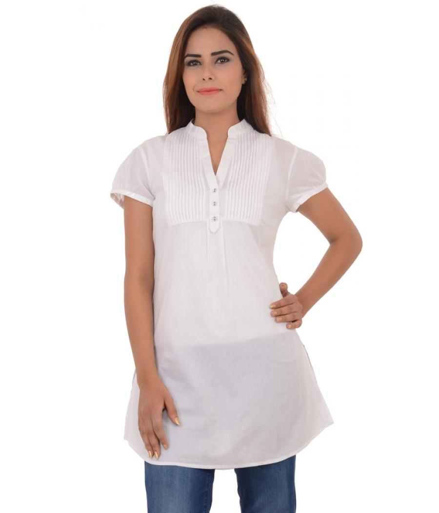 Espirit Cotton Front Pleats White Kurti