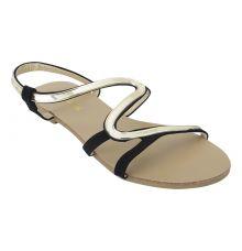 Estatos Faux Leather Open Toe Snake Shape Metallic Strap Black Flat Sandals for Women