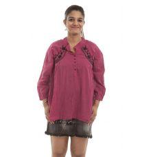 Fashion Fuse Cotton Solid Magenta Embroidery A-line Tunic