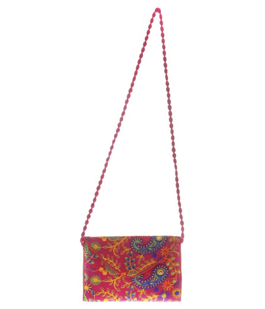 Envie Cloth/Textile/Fabric Pink & Multi Magnetic Snap Embroidered Sling Bag