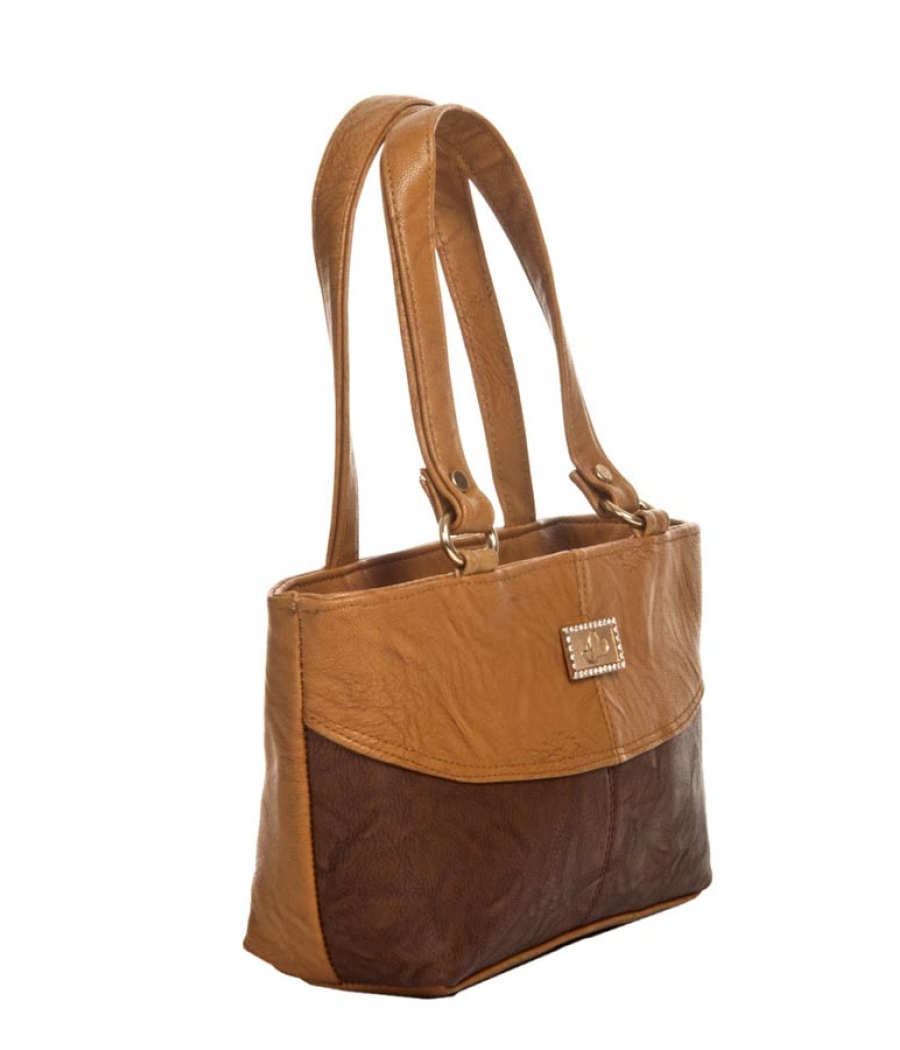 Aliado Faux Leather Solid Brown & Coffee Brown Zipper Closure Tote Bag