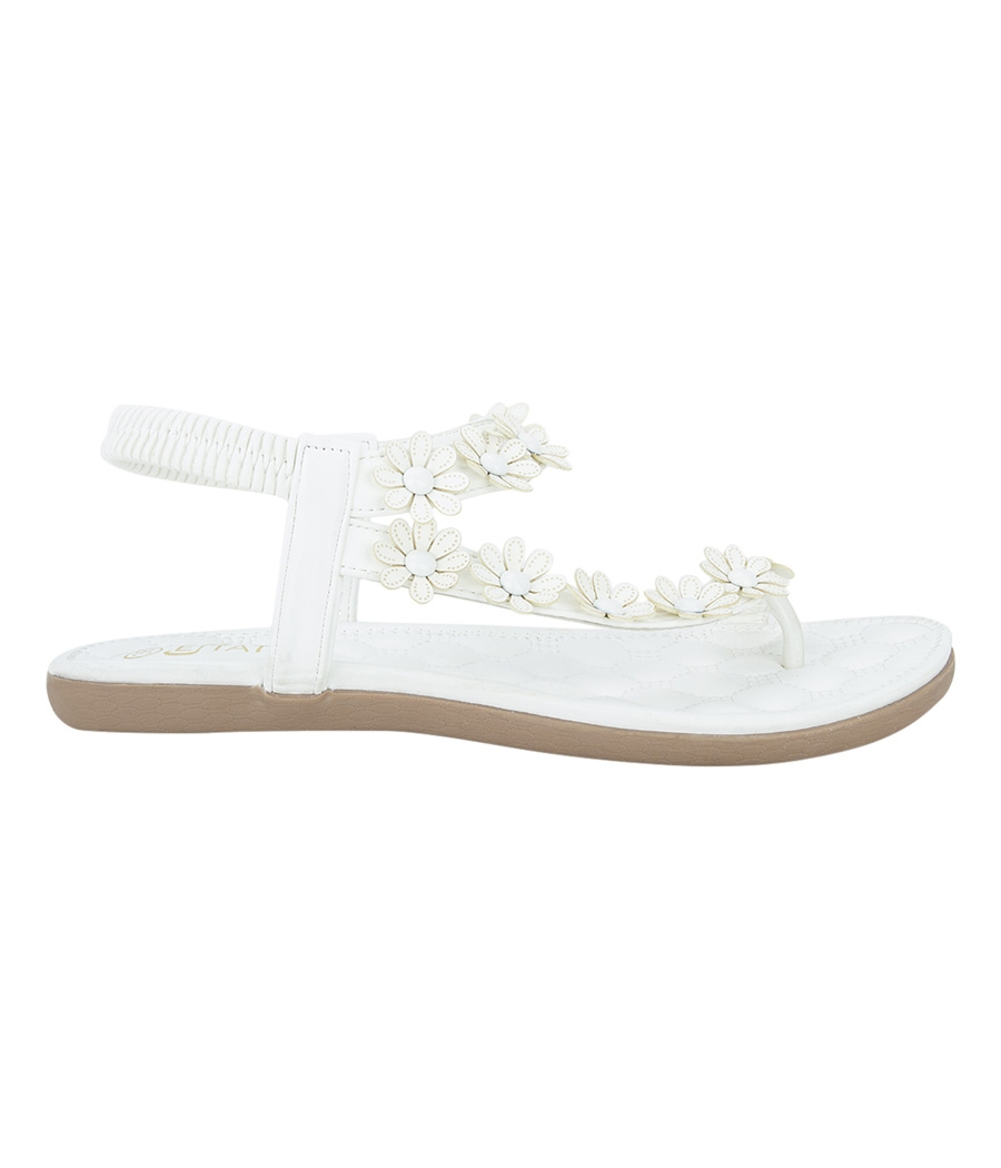 Estatos Faux Leather Flower Decorated Toe Strap Elastic Closure Padded Sole White Flat Sandals for Women