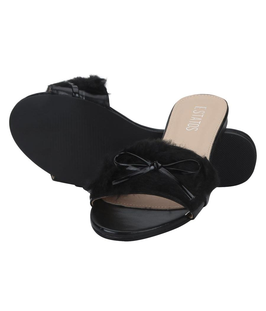 Estatos Leather Black Open Toe Single Strap Flats