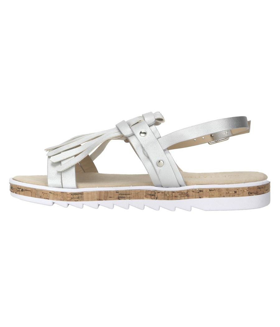 Estatos Leather Silver  Buckle Closure Twin Strap Open Toe Flat Sandals