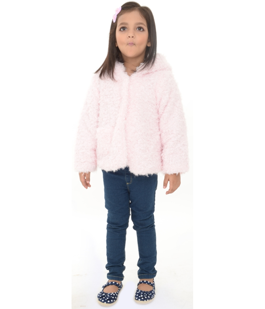 Joy n Fun Light Pink full sleeves Puffer Jacket with Hood for Girl