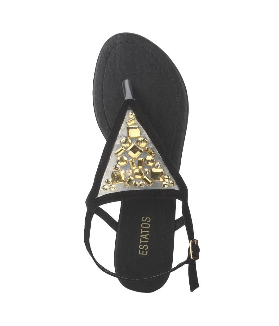 Estatos Suede Black Buckle Closure Ankle Strap Open Toe Flat Sandals