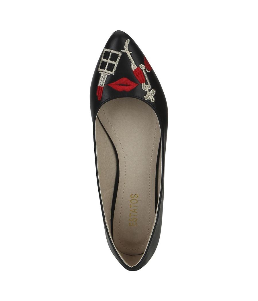 Estatos Leather Black Embellished Flat Casual Belly Shoes