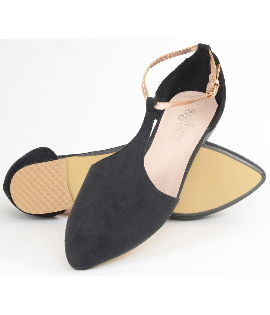 Estatos Suede Leather With Shiny Golden Strap Flat Black Sandals