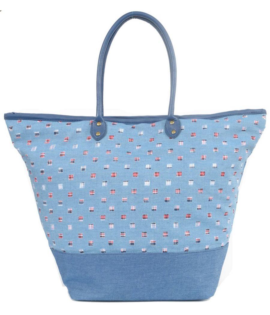 Aliado Denim designer patchwork Light Blue Handbag