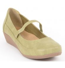 Estatos Synthetic Leather Front strap platform heeled Olive/Green bellerina/shoes