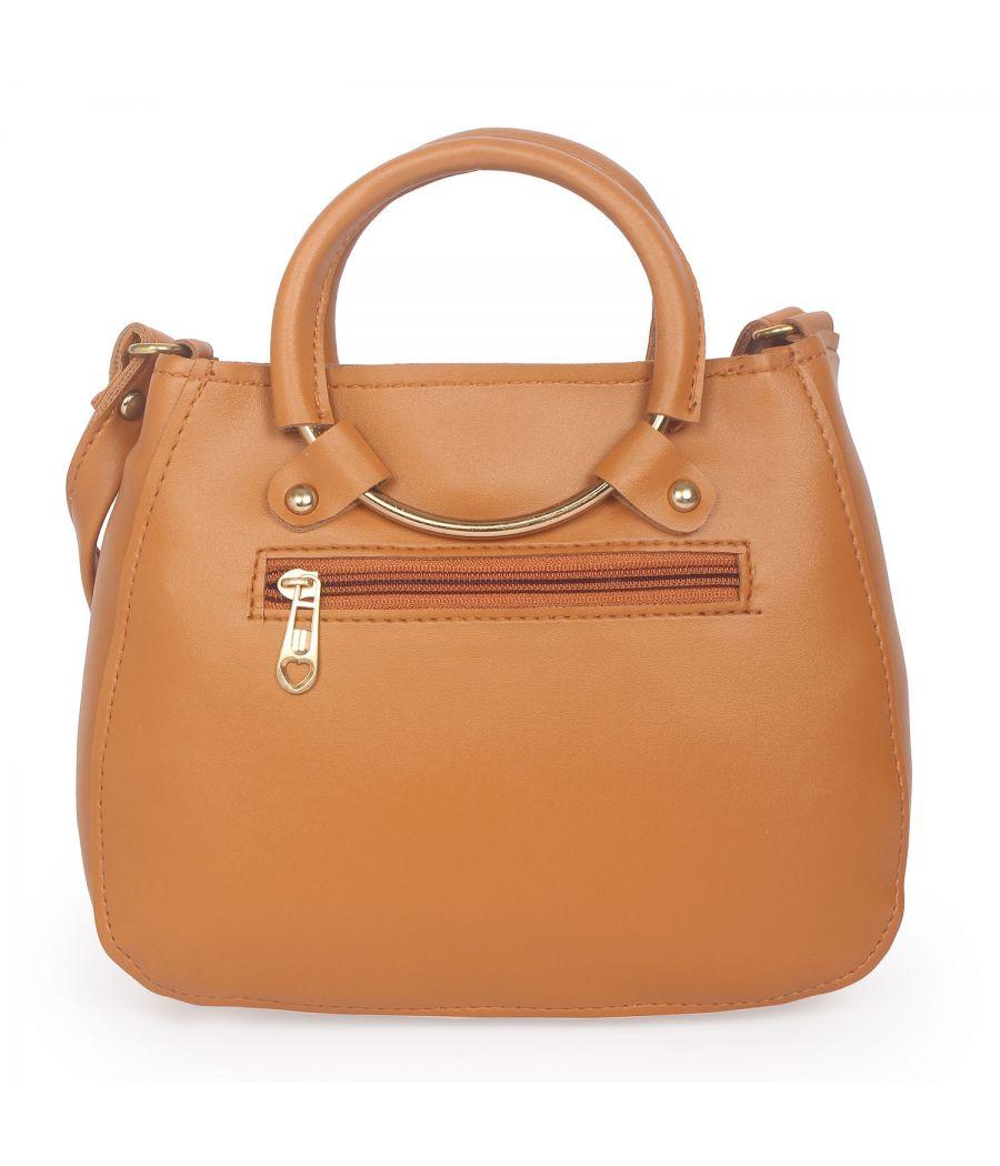 Aliado Brown Artificial Leather Zipper Closure Handbag