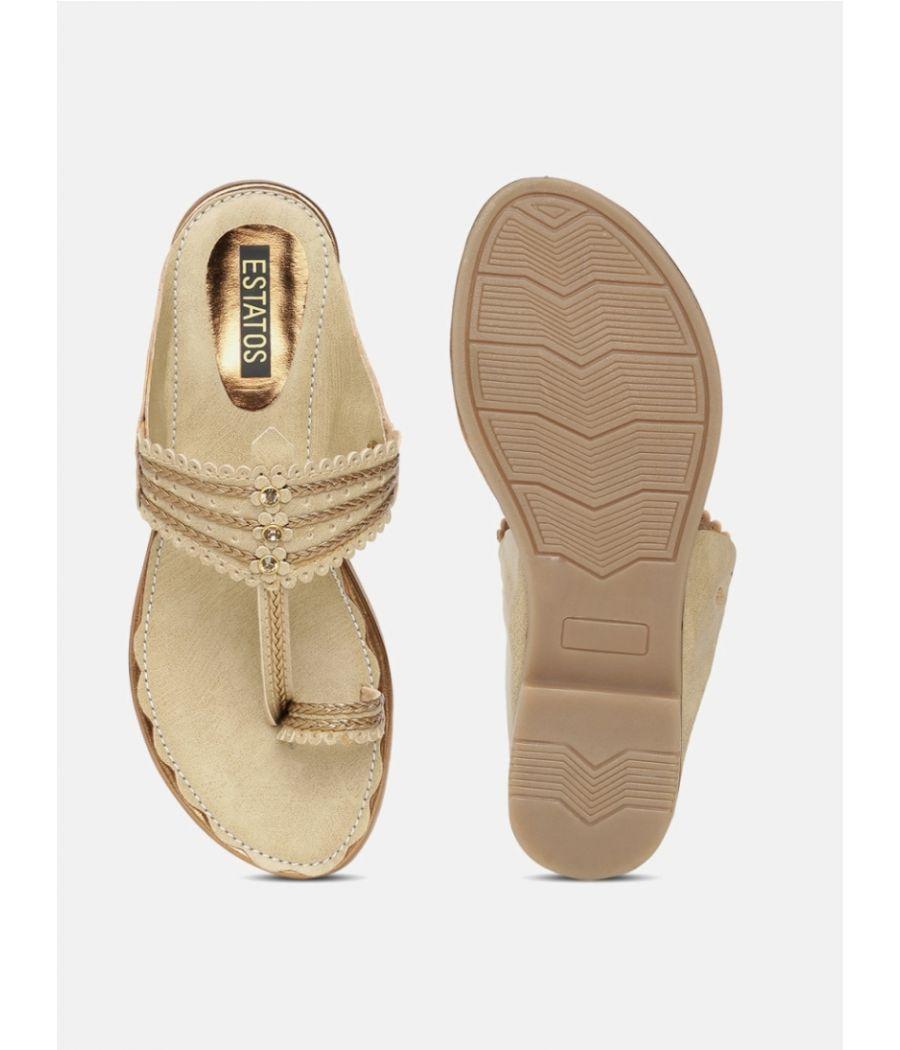 Estatos  Women Gold Flat Sandals