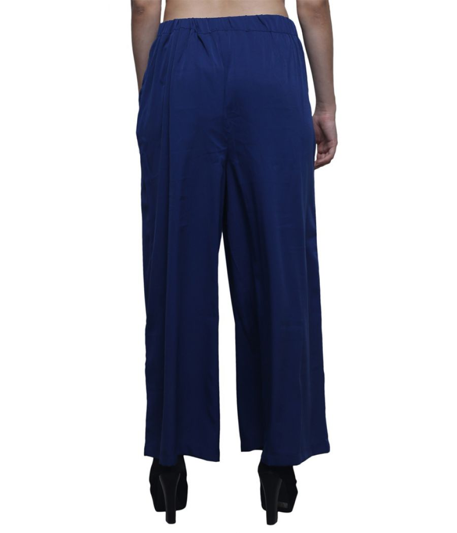 Estance Polyester Solid Double Pleated Navy Blue Palazzo