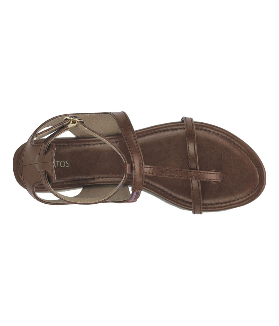 Estatos Summer Cool Leather Mesh Style Buckle Closure Brown Flat Sandals for Women