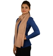 Nude Checked Pashmina Stole