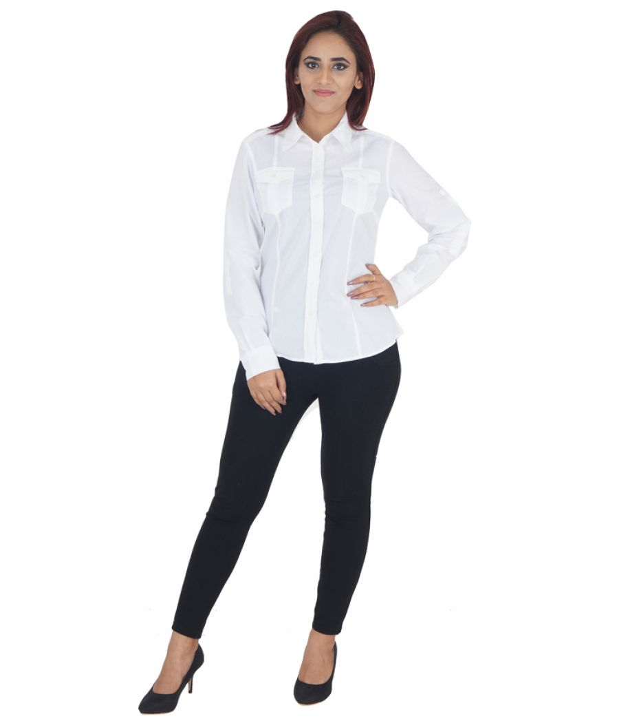 MS Woman Cotton White Solid Full Sleeves Button Closure Formal Shirt