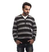 Burton Wool Stripes Off White, Grey & Black Full Sleeves Casual Sweatshirt