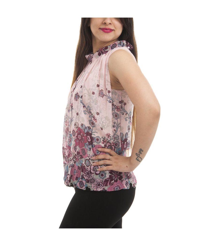 Etashee Certified Crepe Pink & Multi Floral Print Button Closure Sleeveless Gathered High Neck Regular Top