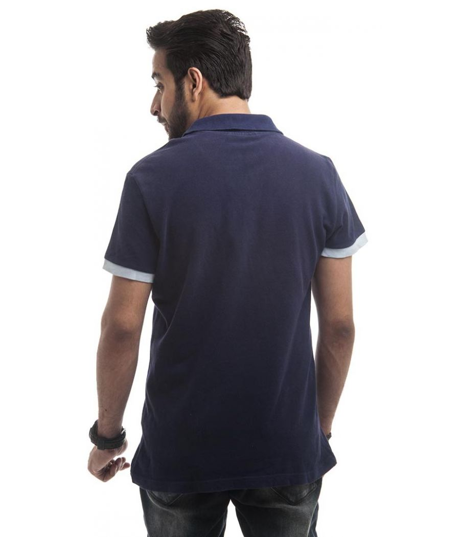 Lacoste Polycotton Plain Navy Blue & White Half Sleeved Casual T-shirt