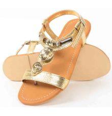 Flat Leather Rhinestone T-strap Gold Sandals