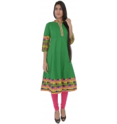 Green Flared Cotton Kurti