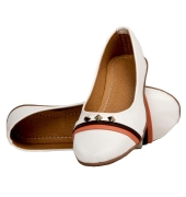 Rudra Collection Synthetic Leather White Broad Toe Flat Bellies