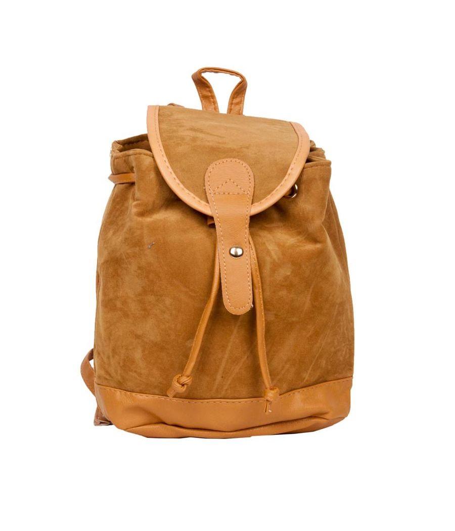 Aliado Velvet Solid Beige  Backpack