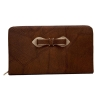 Envie Faux Leather Brown Coloured Zipper Croc Pattern Clutch
