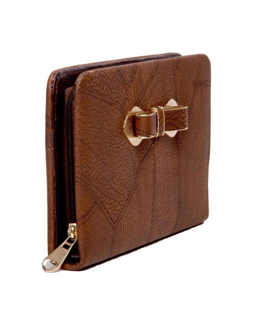 Envie Faux Leather Brown Coloured Zipper Croc Pattern Clutch